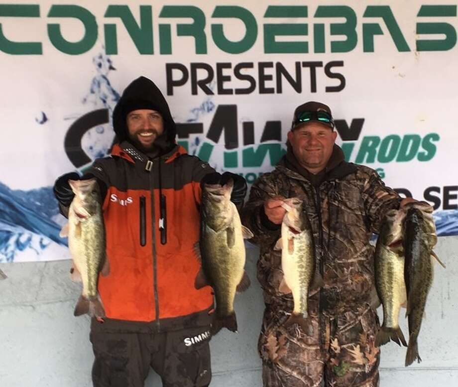 Travis Moore and Taylor Robbins won the CONROEBASS/CASTAWAY RODS Weekend Series with a stringer total weight of 22.80 pounds. Photo: Conroe Bass