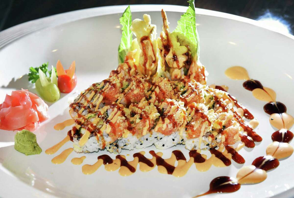 Out of Control, a full soft-shell crab and spicy tuna with vegetables at Pebbles Asian Fusion restaurant Saturday Feb. 10, 2018 in Colonie, NY. (John Carl D'Annibale/Times Union)