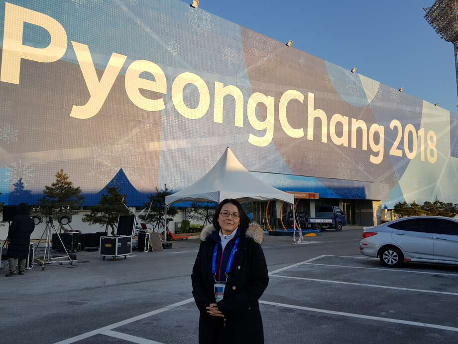 Jaeyeon Hwang at the 2018 Winter Olympics. (Photo courtesy College of Saint Rose.)