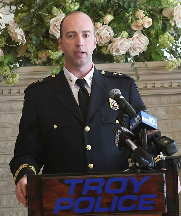 Assistant Chief Brian Owens speaks after being sworn in as Troy Police Chief by Troy Mayor Patrick Madden at Franklin Terrace on Wednesday Feb. 14, 2018 in Troy, N.Y. (Lori Van Buren/Times Union) Photo: Lori Van Buren, Albany Times Union / 20042930A