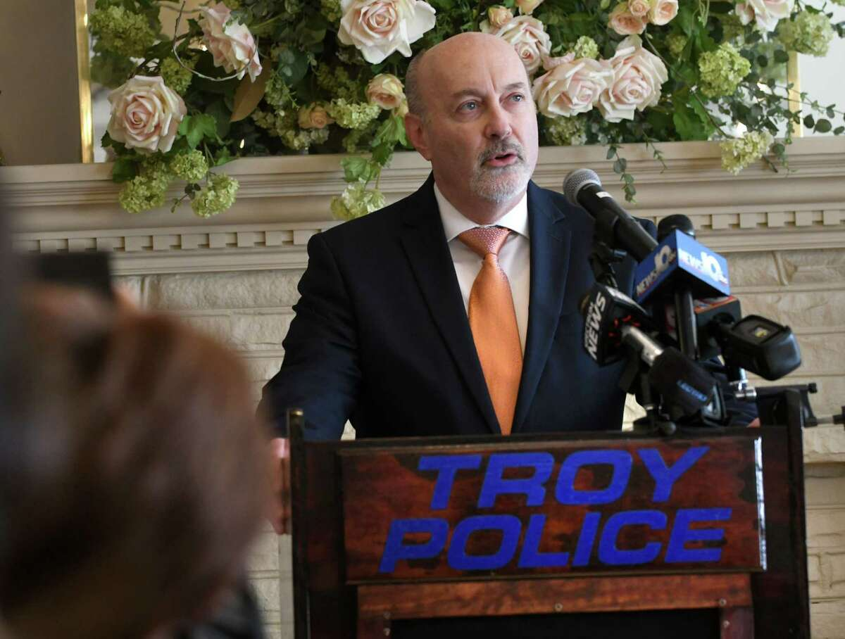 Troy Mayor Patrick Madden speaks after he swore in Troy's assistant police chief Daniel DeWolf and chief Brian Owens at Franklin Terrace on Wednesday, Feb. 14, 2018 in Troy, N.Y. (Lori Van Buren/Times Union)