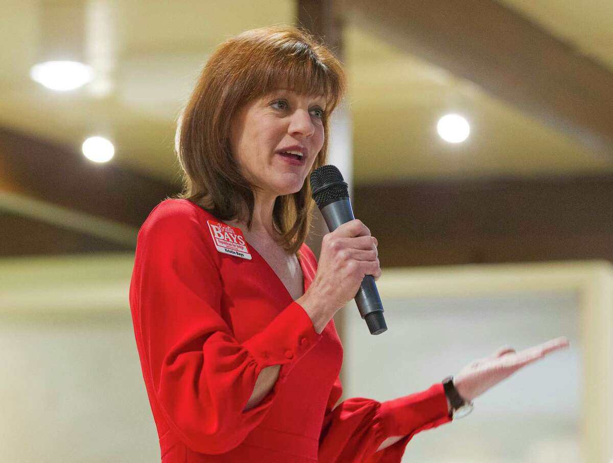 Kristin Bays, Republican candidate for the 284th state District Court, speaks during a political forum at the Liberty Belles Republican Women meeting, Thursday, Jan. 11, 2018, in Panorama Village.