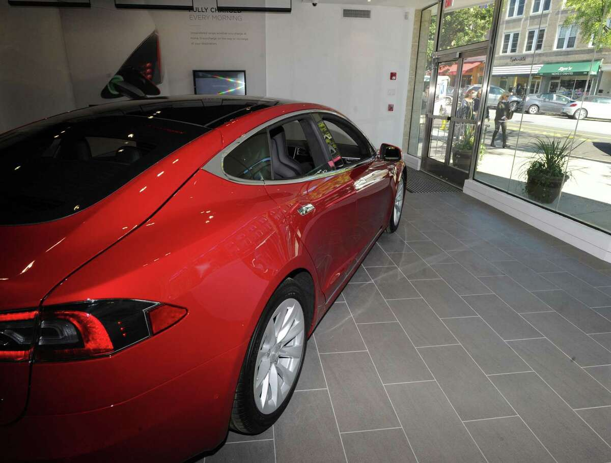 The first day of business at the Tesla store located at 340 Greenwich Ave., Greenwich, in 2016.
