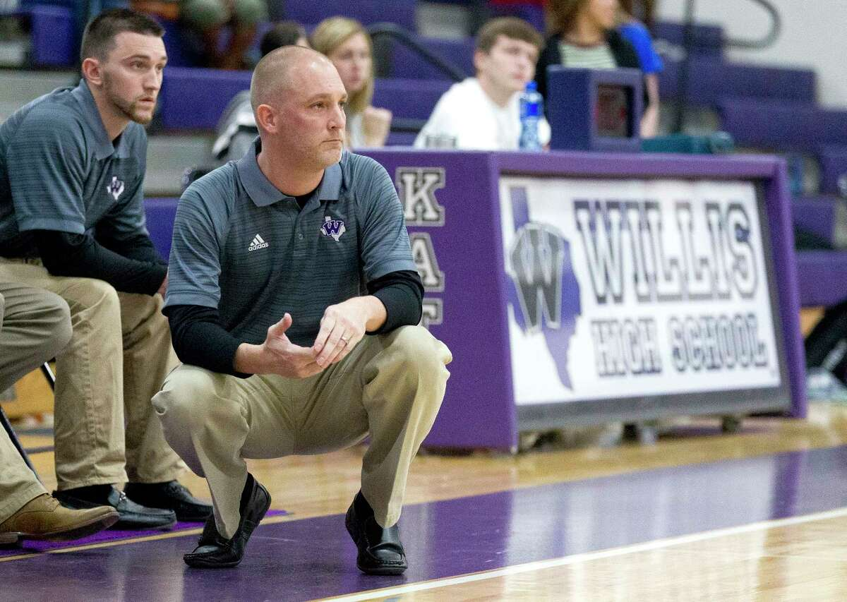 Willis assistant coach Payne Andrus (background left), a former Wildkats player, joined head coach Michael Storms' coaching staff this season.