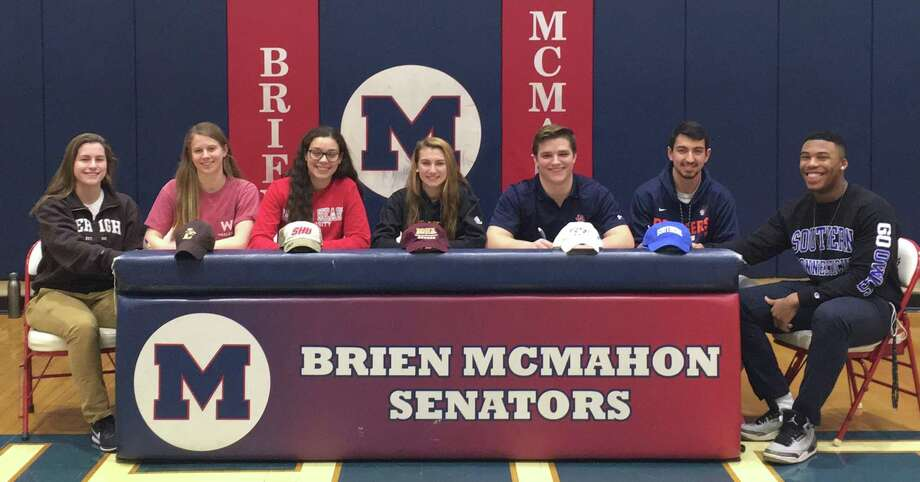 Seven Brien McMahon student-athletes announced their intentions of competing at the next level earlier this month during the letter of intent signing period, including from left: track standout Savannah Buzzeo (Lehigh), swimmer Haley Linder (Wesleyan), girls soccer players Olivia Leone (Sacred Heart) and Mikayla Fosina (Iona), along with lacrosse player Peter Ripperger (Richmond), Chris Druin (Utica) and Cam Kelly (Southern Connecticut). Photo: John Nash / Hearst Connecticut Media / Norwalk Hour