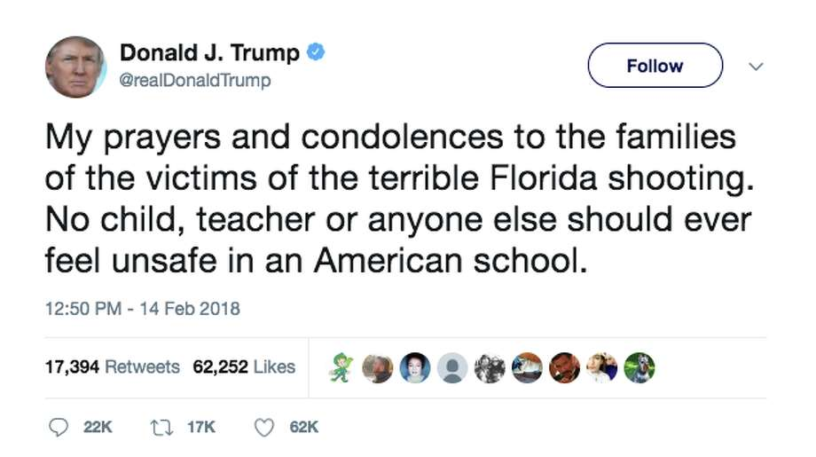 Politicians react to the school shooting in Parkland, Florida on Wednesday, Feb. 14, 2018. Photo: Twitter