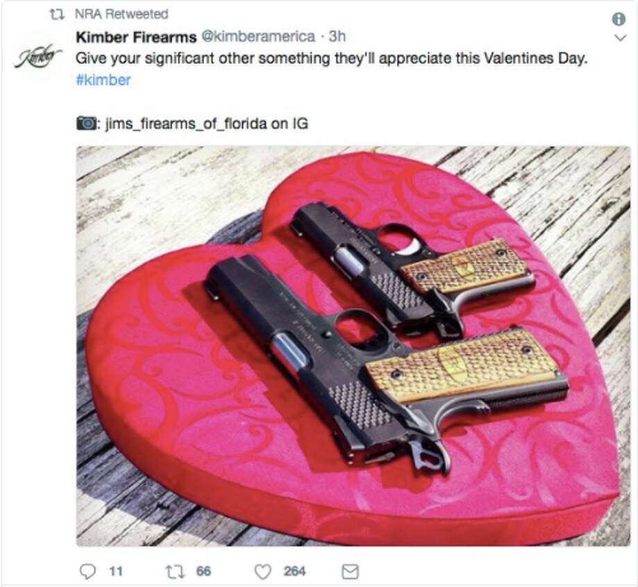 The NRA retweeted a tweet encouraging people to buy guns for loved ones on Valentine's Day. Click through the gallery for more information on Wednesday's school shooting. Photo: Screenshot Via Twitter