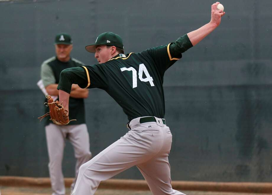 Nolan Blackwood is one of 59 players the A's have in camp for spring training. Manager Bob Melvin says Blackwood is a sidearm-style right-hander with a funky delivery. Photo: Photo Courtesy Michelle Minahen