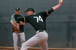 Nolan Blackwood is one of 59 players the A's have in camp for spring training. Manager Bob Melvin says Blackwood is a sidearm-style right-hander with a funky delivery.