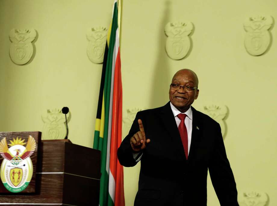 South African President Jacob Zuma addresses the nation and press at the government's Union Buildings in Pretoria, South Africa, Wednesday, Feb. 14, 2018. South Africa's President Jacob Zuma says he will resign 'with immediate effect' (AP Photo/Themba Hadebe) Photo: Themba Hadebe, STF / Copyright 2018 The Associated Press. All rights reserved.