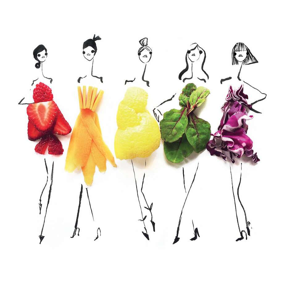 "Fashion illustrator Gretchen Roehrs has come out with a book featuring her fork-to-fashion images. Photo: � ""Edible Ensembles,"" Rizzoli New York, 2018"