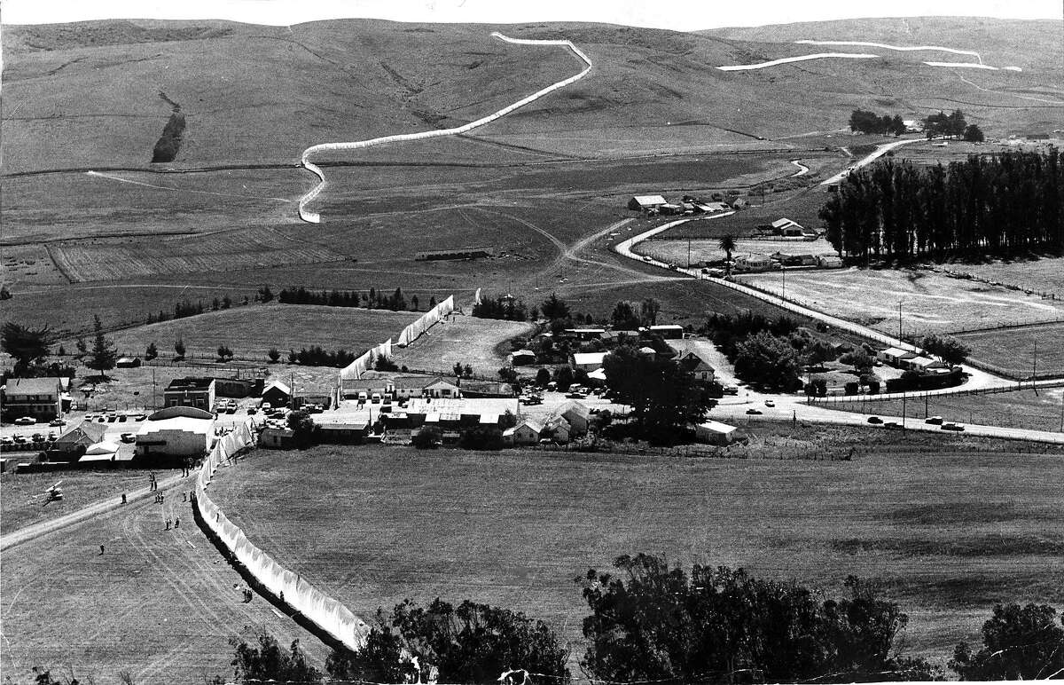 """An overhead view of """"Running Fence"""" in Valley Ford, Sept. 1976.� Madeline Nieto Hope turned a section of the fence from a ranch in Valley Ford into artwork on display at Marin Civic Center"""