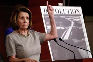 House Minority Leader Nancy Pelosi of Calif., speaks to the media during a news conference about infrastructure, Thursday, Feb. 8, 2018, on Capitol Hill in Washington. (AP Photo/Jacquelyn Martin)