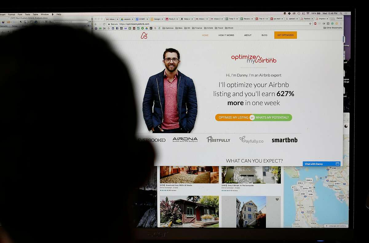 Daniel Rusteen at home where he works on his business OptimizeMyAirbnb helping other hosts show up higher in search results on Wednesday, May 10, 2017, in San Francisco, Calif. He and his roommates were fined $1900 for not having registered their couch space with the city.