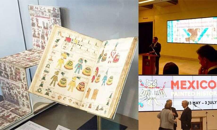 Códices prehispánicos son exhibidos durante una exposición en la Biblioteca Bodleian de la Universidad de Oxford en 2016. Photo: Foto De Cortesía /Secretaría De Relaciones