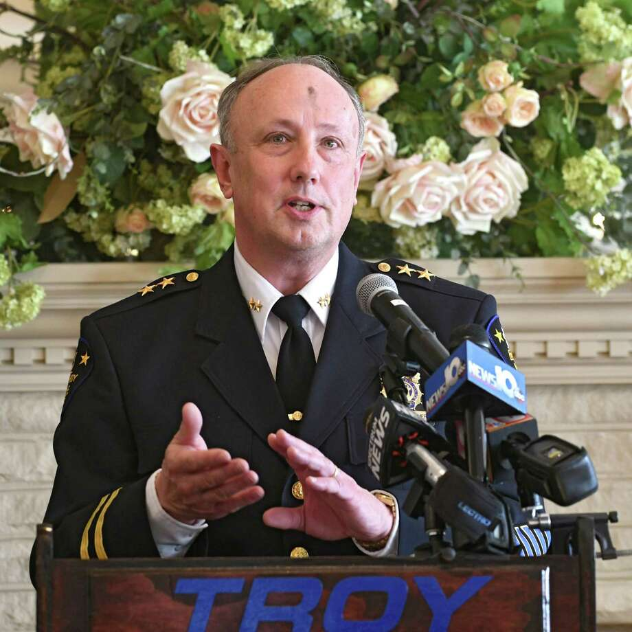 Assistant Chief George VanBramer speaks before Troy Mayor Patrick Madden swears in Troy's assistant police chief Daniel DeWolf and chief Brian Owens at Franklin Terrace on Wednesday, Feb. 14, 2018 in Troy, N.Y.  (Lori Van Buren/Times Union) Photo: Lori Van Buren / 20042930A