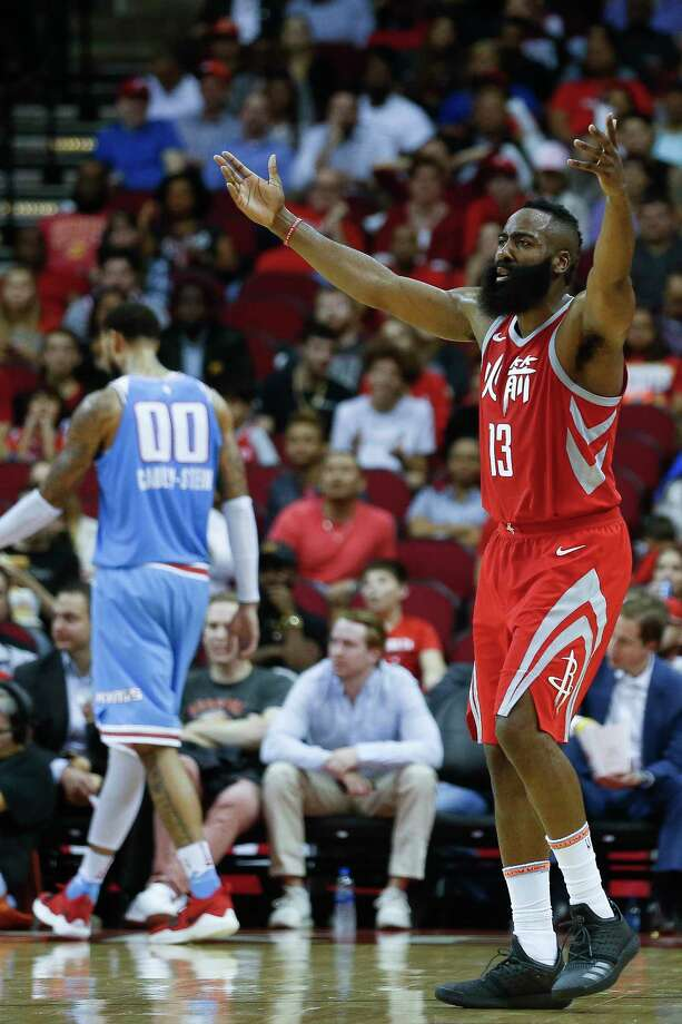 Houston Rockets guard James Harden (13) reacts as a foul is called against the Rockets as the Houston Rockets take on the Sacramento Kings at the Toyota Center Wednesday, Feb. 14, 2018 in Houston. Photo: Michael Ciaglo, Houston Chronicle / Michael Ciaglo