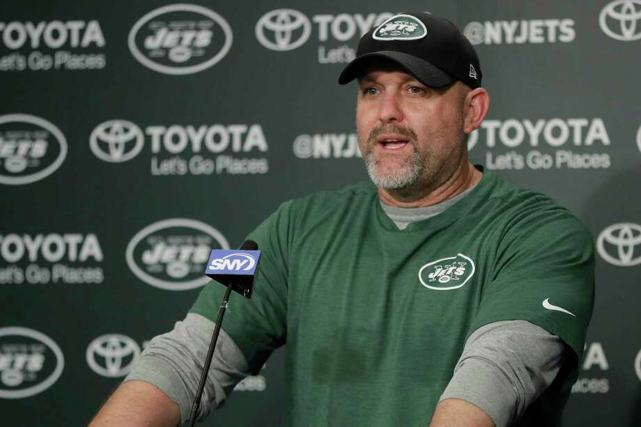 FILE - In this Tuesday, May 23, 2017 file photo, New York Jets offensive coordinator John Morton talks to reporters during the team's organized team activities at its NFL football training facility in Florham Park, N.J. A person with direct knowledge of the decision says the New York Jets have fired offensive coordinator John Morton after one season. The person spoke to The Associated Press on Wednesday, Jan. 17, 2018 on condition of anonymity because the team had not announced the move.(AP Photo/Julio Cortez, File) Photo: Julio Cortez / Copyright 2017 The Associated Press. All rights reserved.