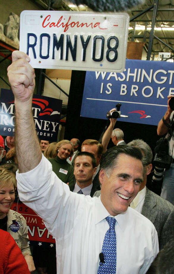 FILE - In this Jan. 31, 2008, file photo, Republican presidential hopeful, former Massachusetts Gov. Mitt Romney, campaigns at Bassett Furniture in Fountain Valley, Calif. Romney's announcement Thursday, Feb. 15, 2018, of a run for U.S. Senate seat in Utah is his latest bid for public office since he first jumped into politics more than 20 years ago. (AP Photo/LM Otero, File) Photo: LM Otero, STF / 2008 AP