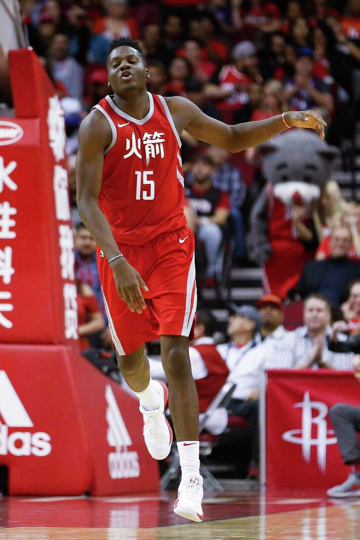 Houston Rockets center Clint Capela (15) celebrates after a dunk as the Houston Rockets beat the Sacramento Kings 100-91 at the Toyota Center Wednesday, Feb. 14, 2018 in Houston.