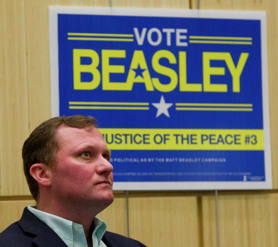 Matt Beasley, candidate for Montgomery County Precinct 3 Justice of the Peace, visits with voters during The Woodlands Area Chamber of Commerce's Whistle Stop Tour for political candidates, Friday, Feb. 2, 2018, in The Woodlands. Photo: Jason Fochtman, Staff Photographer / © 2018 Houston Chronicle