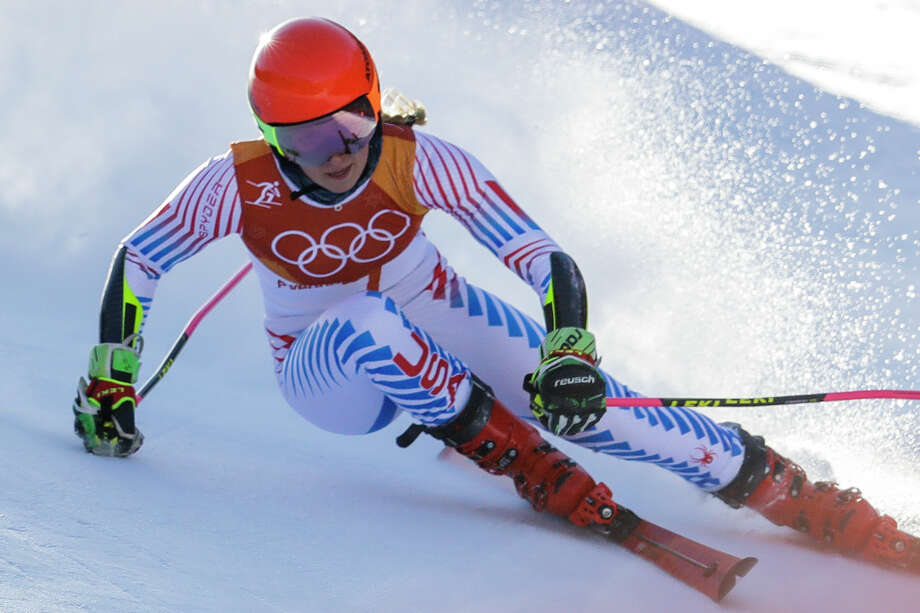 Mikaela Shiffrin, of the United States, skis during the first run of the Women's Giant Slalom at the 2018 Winter Olympics in Pyeongchang, South Korea, Thursday, Feb. 15, 2018., Thursday, Feb. 15, 2018. (AP Photo/Michael Probst) Photo: Michael Probst / Copyright 2018 The Associated Press. All rights reserved