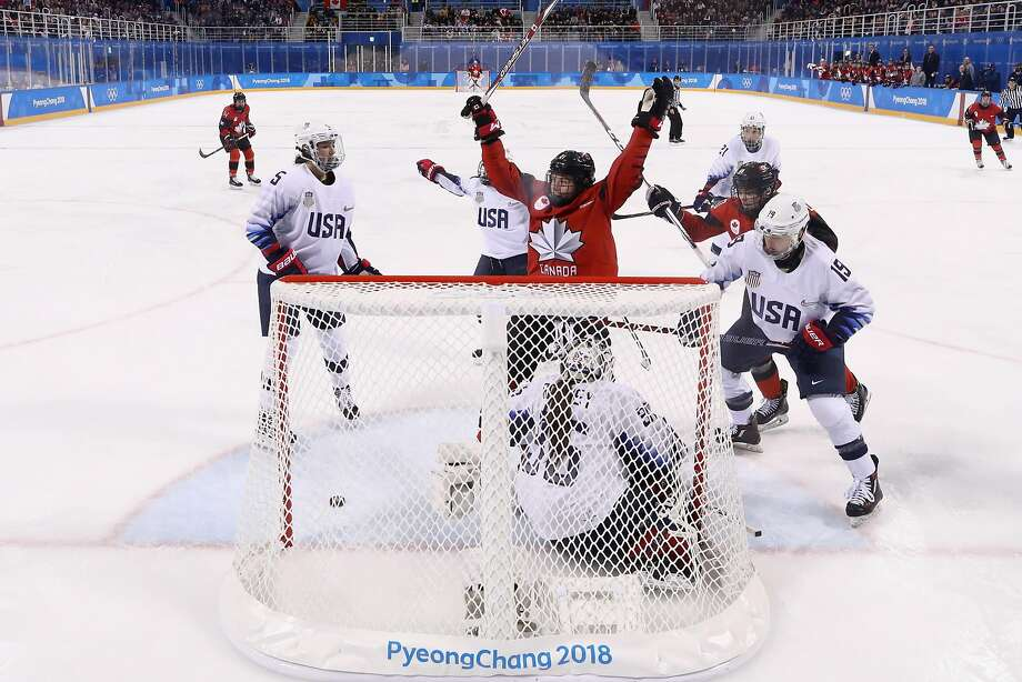 GANGNEUNG, SOUTH KOREA - FEBRUARY 15:  Canada celebrates after Sarah Nurse #20 of Canada scores in the second period against the United States during the Women's Ice Hockey Preliminary Round Group A game on day six of the PyeongChang 2018 Winter Olympic Games at Kwandong Hockey Centre on February 15, 2018 in Gangneung, South Korea.  (Photo by Ronald Martinez/Getty Images) Photo: Ronald Martinez, Getty Images