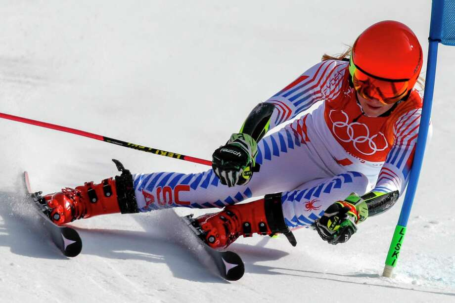 Mikaela Shiffrin, of the United States, attacks the gate during the second run of the Women's Giant Slalom at the 2018 Winter Olympics in Pyeongchang, South Korea, Thursday, Feb. 15, 2018., Thursday, Feb. 15, 2018. (AP Photo/Jae C. Hong) Photo: Jae C. Hong, Associated Press / Copyright 2018 The Associated Press. All rights reserved