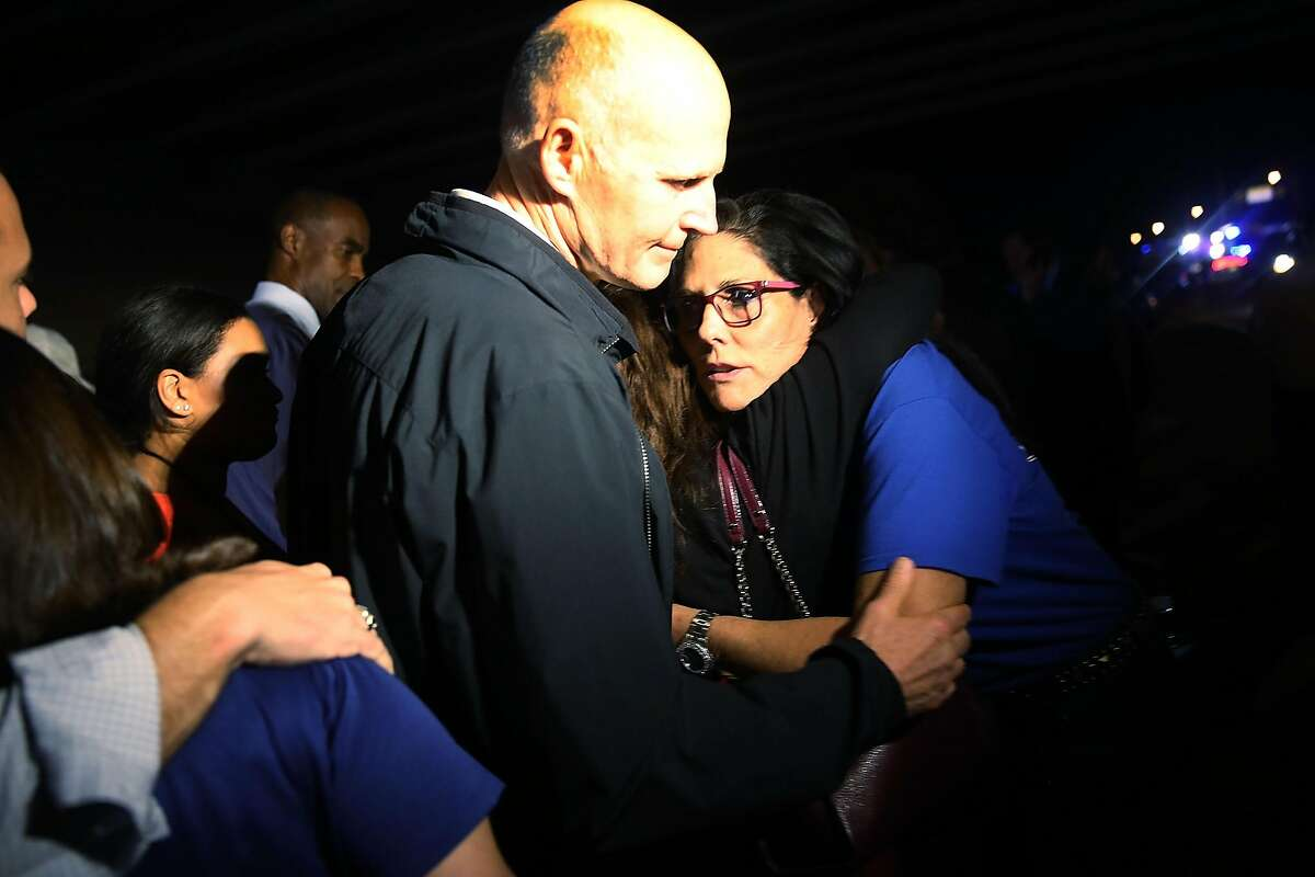 PARKLAND, FL - FEBRUARY 14: Florida Governor Rick Scott visits Marjory Stoneman Douglas High School after a shooting at the school killed 17 people on February 14, 2018 in Parkland, Florida. Numerous law enforcement officials continue to investigate the scene. (Photo by Joe Raedle/Getty Images)