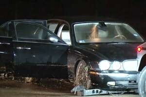 Police pursued a stolen Jaguar in north Houston early Thursday.
