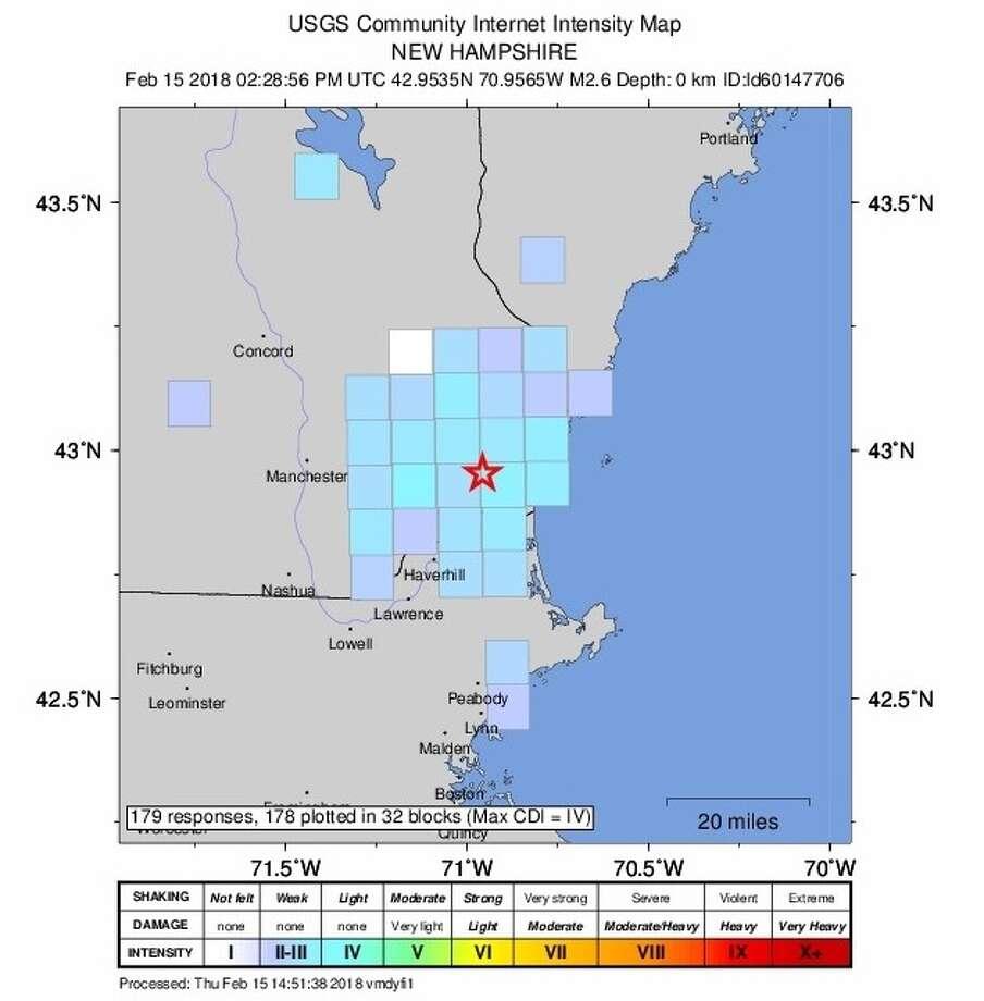 A 2.6 magnitude quake was centered near Exeter, N.H., on Thursday, Feb. 15, 2018. Photo: Earthquake.usgs.gov