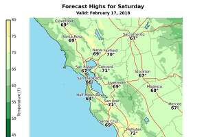 The weather on Saturday should be fairly warm around the Bay Area, before a cooling trend comes down from the north, according to the National Weather Service.
