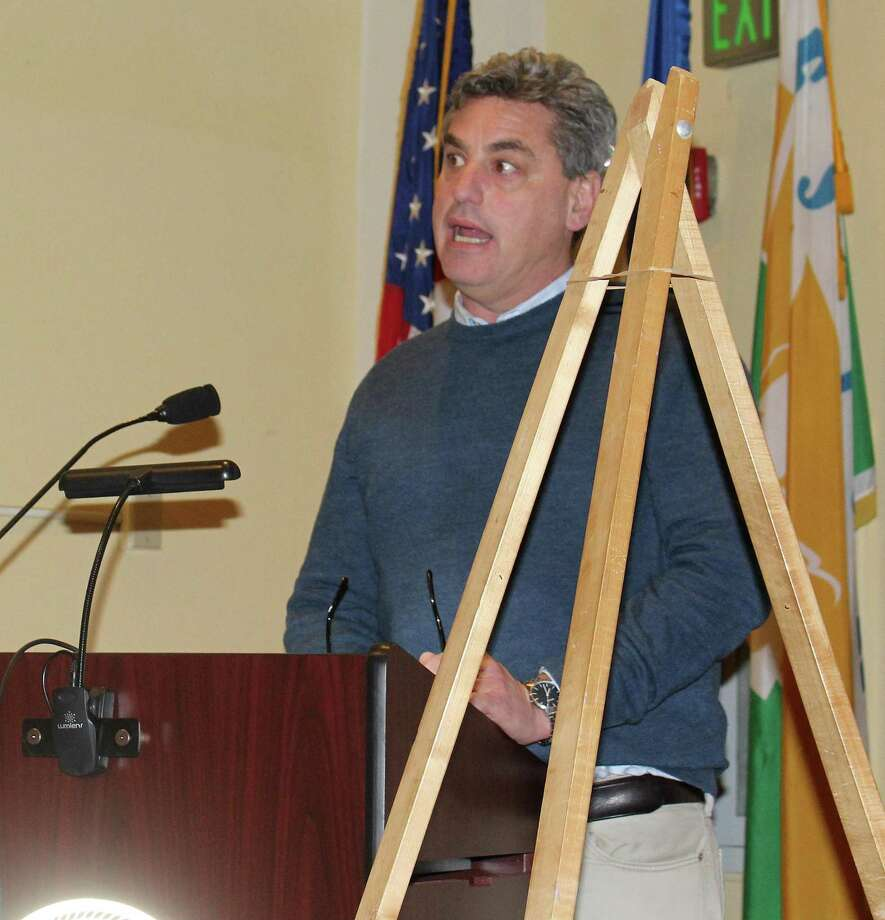Peter Greenberg of Norwalk based Able Construction spoke at the Feb. 15 Planning and Zoning Comission meeting in Westport Town Hall in support of his proposal for a senior housing development at 500 Main St. Photo: Sophie Vaughan/Hearst Connecticut Media