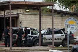 Houston Police officers responded to reports of gun being brought in to Houston Can Academy Hobby by a student Thursday, Feb. 15, 2018, in Houston. The school was placed in lockdown.