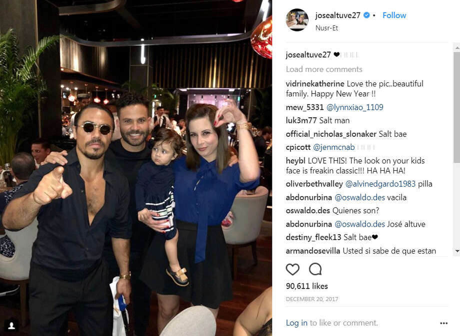 Jose Altuve ...And his wife Nina and daughter Melanie Andrea met that Salt Bae guy. Check out the look Altuve's daughter is giving Salt Bae.(Instagram) Photo: Instagram