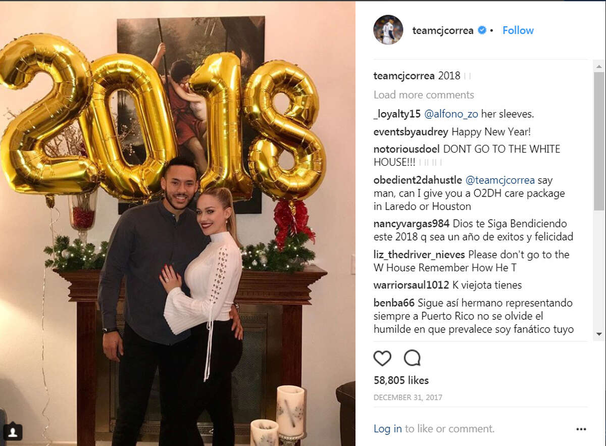 Carlos Correa ... Celebrated the New Year with his fiancee Daniella Rodriguez. (Instagram)
