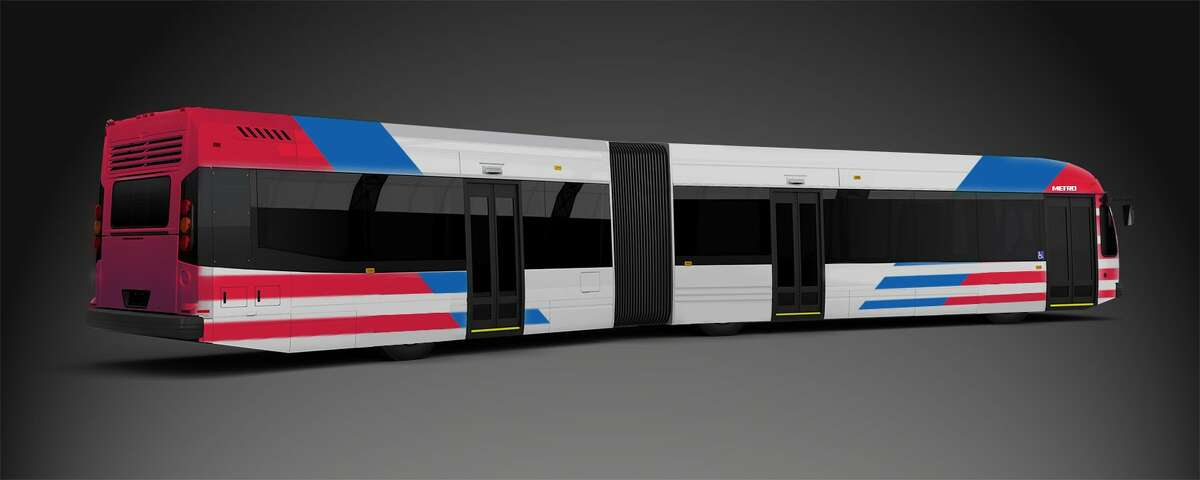 Bus rapid transit, or BRT, vehicles are buses, but have doors and interiors similar to trains. Metropolitan Transit Authority released this rendering last year of the 14 buses purchased to operate bus rapid transit along Post Oak in the Uptown area.