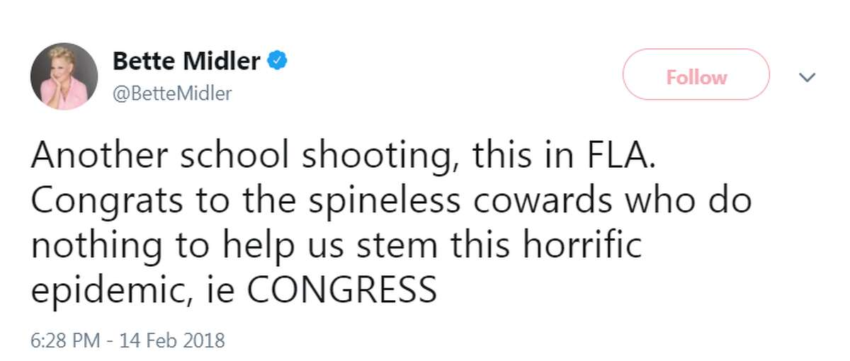 Celebrities and politicians react to the shooting at Marjory Stoneman Douglas High School on Feb. 14, 2017 in Parkland, Florida.Image source: Twitter
