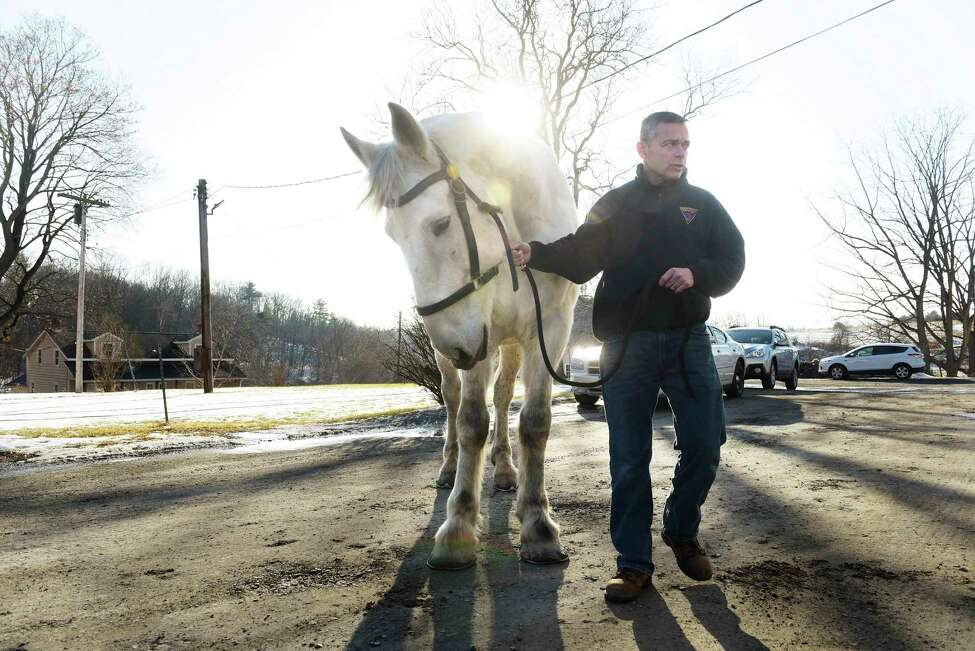 Albany Police Sergeant Peter Noonan with Ace at the Albany Police Mounted Unit barn on Wednesday, Feb. 14, 2018, in Albany, N.Y. Ace is a new horse to the unit, having been seized during an animal abuse investigation in Massachusetts. (Paul Buckowski/Times Union)
