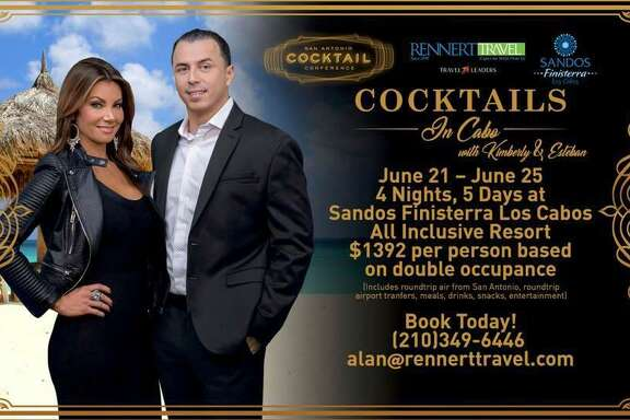 "The San Antonio Cocktail Conference is putting on a ""Cocktails in Cabo"" event June 21-25, at the Sandos Finisterra Los Cabos all-inclusive resort in Cabo San Lucas, Mexico. It will be hosted by local television personalities Kimberly Crawford and Esteban Solis of the Fox San Antonio affiliate KABB."