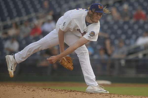 RockHounds starting pitcher A.J. Puk throws against Corpus Christi on July 3, 2017, at Security Bank Ballpark.  James Durbin/Reporter-Telegram
