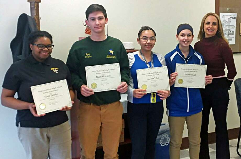 Vinal Technical High School students honored in January are, from left, Kiara Jacobs, Ryan Douglas, Imane Chiby, Stevie Ricci and Principal Niki Menounos. Photo: Contributed Photo