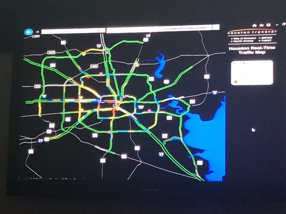 When we arrive at the hub on a Wednesday afternoon around 3 p.m. Houston's traffic map is a healthy green with patches of yellow slows. By the time we leave two hours later the usual hot spots along I-10 West, 610 West, and US-59 north became a hearty red. The seething rage coming from Houstonians stuck on the forever-gridlocked US-290 is palpable even on the map.