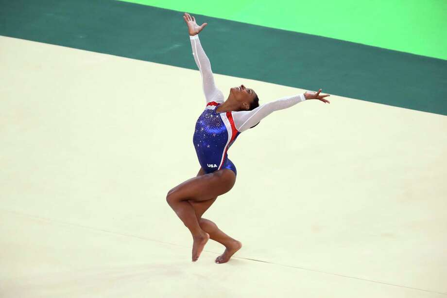 floor gymnastics olympics. Simone Biles, From Houston, Competes In The Floor Exercise During At 2016 Summer Gymnastics Olympics H