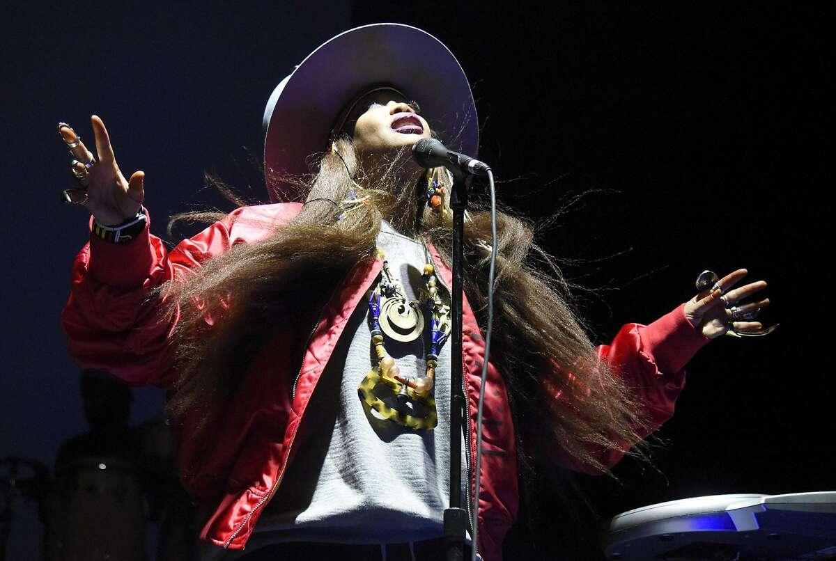 Erykah Badu performs at San Francisco Armory on February 14, 2018 in San Francisco, California.