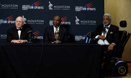 Houston's 34s Nolan Ryan, Hakeem Olajuwon, and Earl Campbell together during a press conference after the Houston Sports Awards at the Hilton Americas, Thursday, Feb. 8, 2018, in Houston. ( Karen Warren / Houston Chronicle )