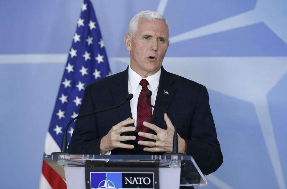 U.S. Vice President Mike Pence, seen in Brussels, Belgium in 2017, is scheduled to deliver keynote remarks at a Republican National Committee donor luncheon in San Antonio on Friday. Photo: Ye Pingfan /Xinhua /TNS / Sipa USA