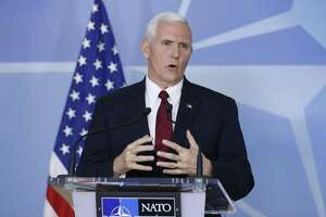 U.S. Vice President Mike Pence, seen in Brussels, Belgium in 2017, is scheduled to deliver keynote remarks at a Republican National Committee donor luncheon in San Antonio on Friday.