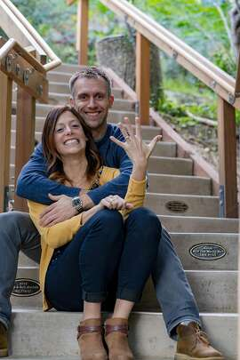 Brian Mott and Alicia Bartomeli on the Dipsea Stairs