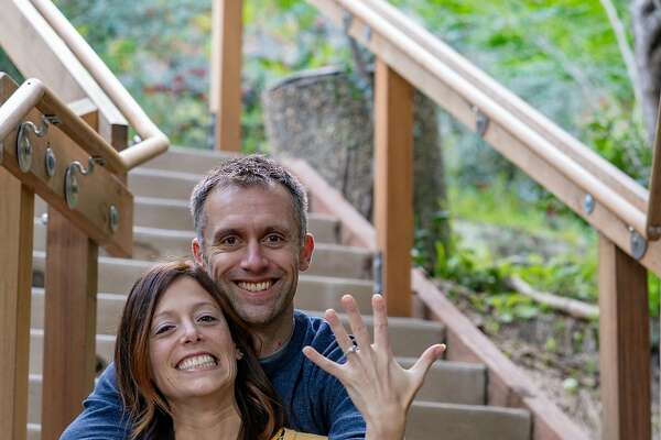 Brian Mott and Alicia Bartomeli on the Dipsea Stairs